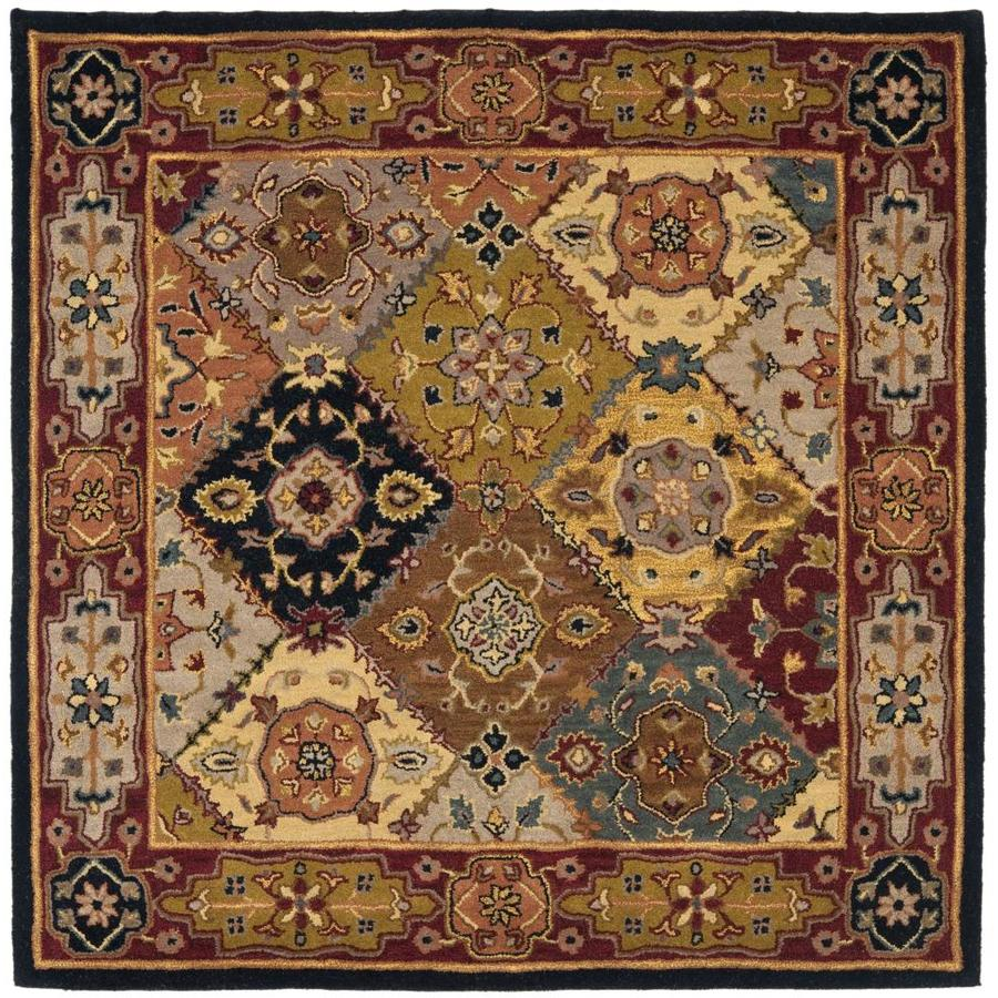 Safavieh Heritage Multi and Red Square Indoor Tufted Area Rug (Common: 6 x 6; Actual: 6-ft W x 6-ft L)