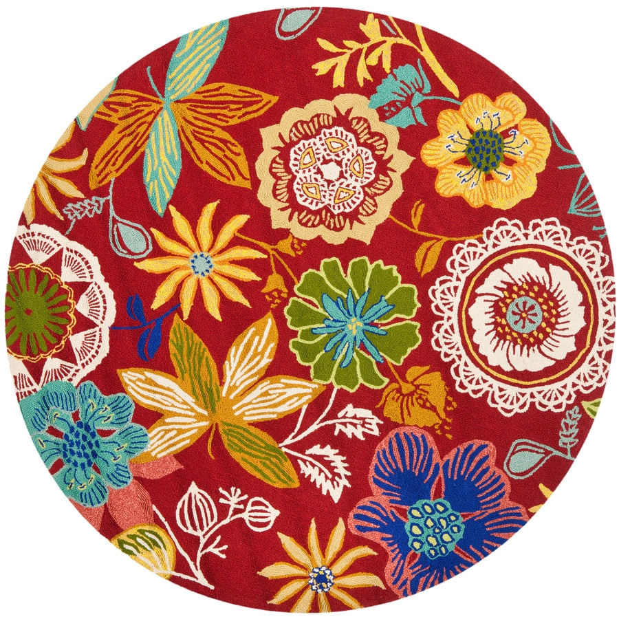 Safavieh Four Seasons Round Red Floral Indoor/Outdoor Woven Area Rug (Common: 4-ft x 4-ft; Actual: 4-ft x 4-ft)