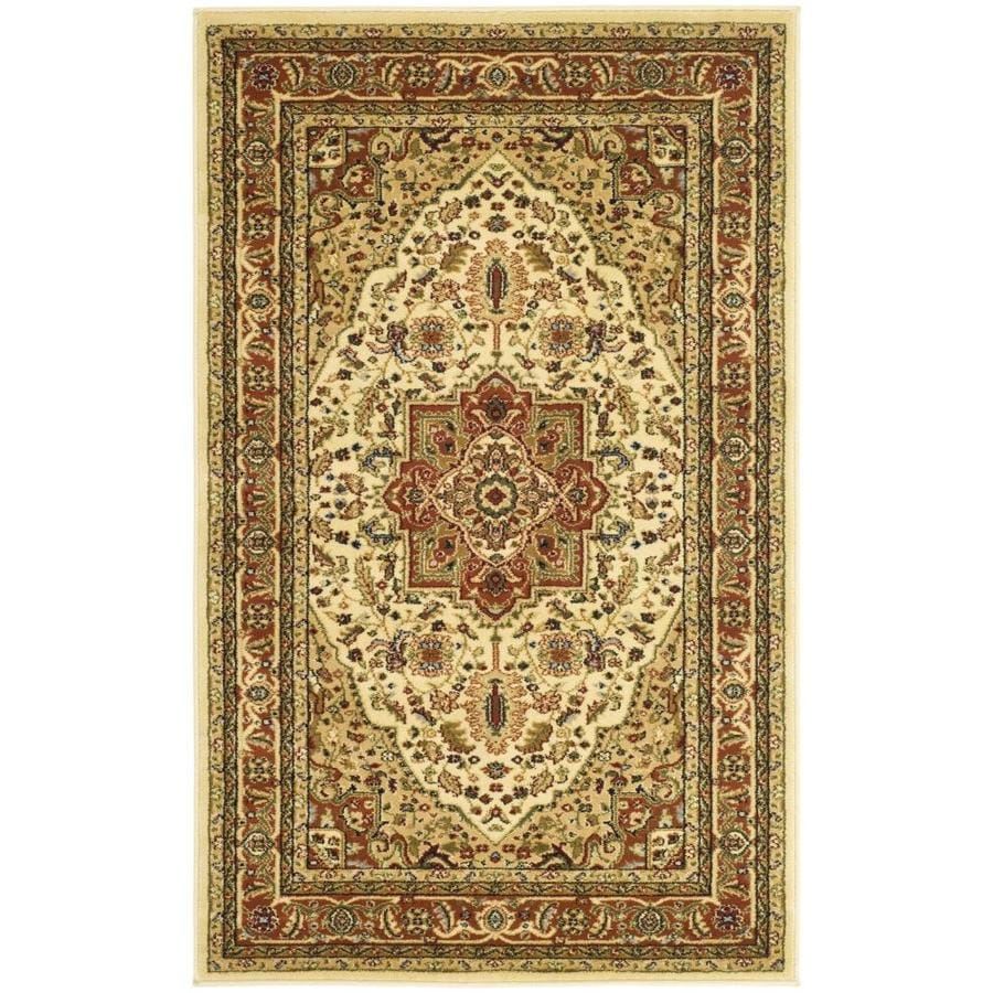 Safavieh Lyndhurst Heriz Ivory/Rust Rectangular Indoor Machine-made Oriental Throw Rug (Common: 3 x 5; Actual: 3.25-ft W x 5.25-ft L)