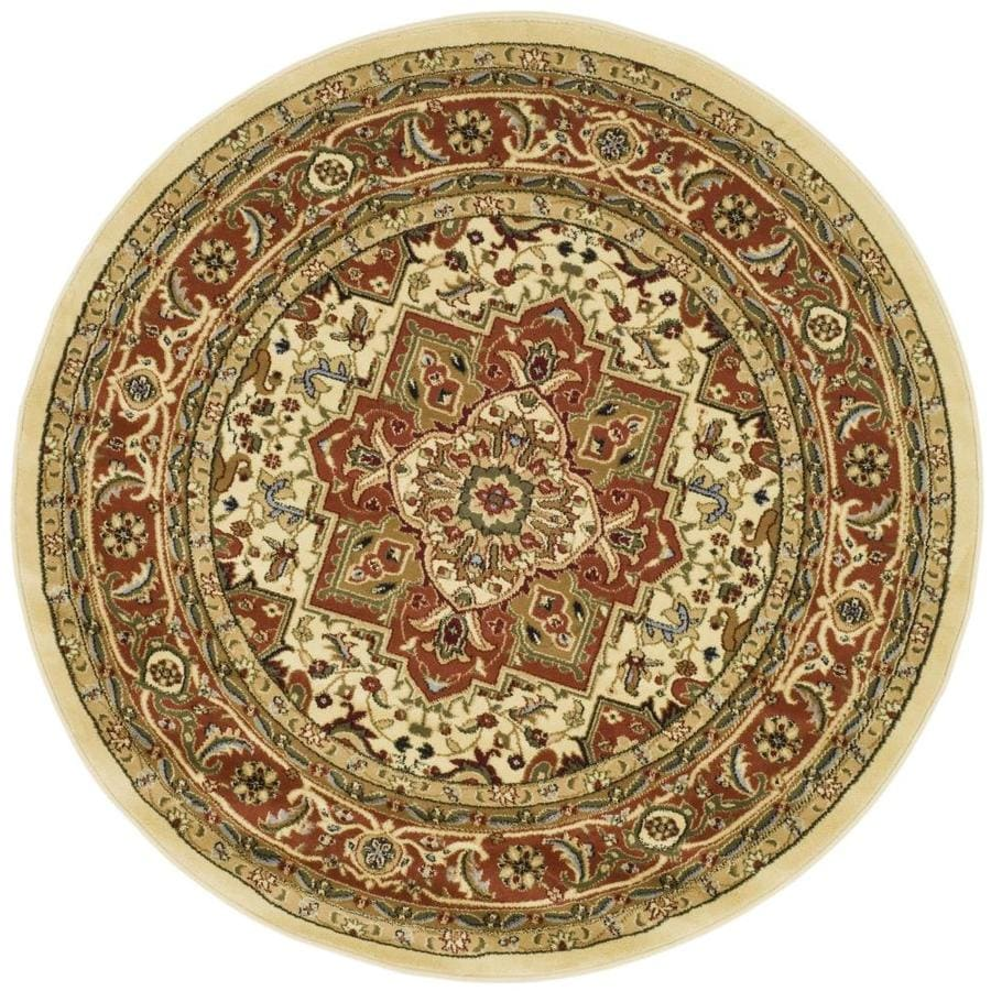 Safavieh Lyndhurst Heriz Ivory Rust Round Indoor Oriental Area Rug Common 8 X Actual Ft Dia