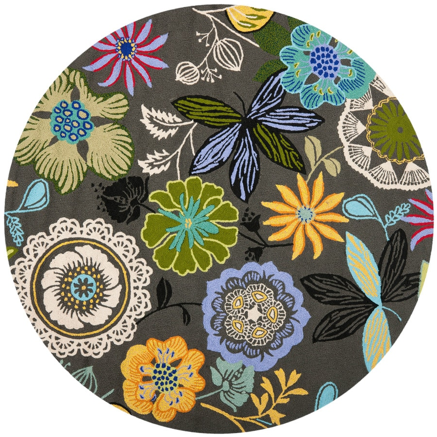 Safavieh Four Seasons Round Gray Floral Indoor/Outdoor Woven Area Rug (Common: 4-ft x 4-ft; Actual: 4-ft x 4-ft)