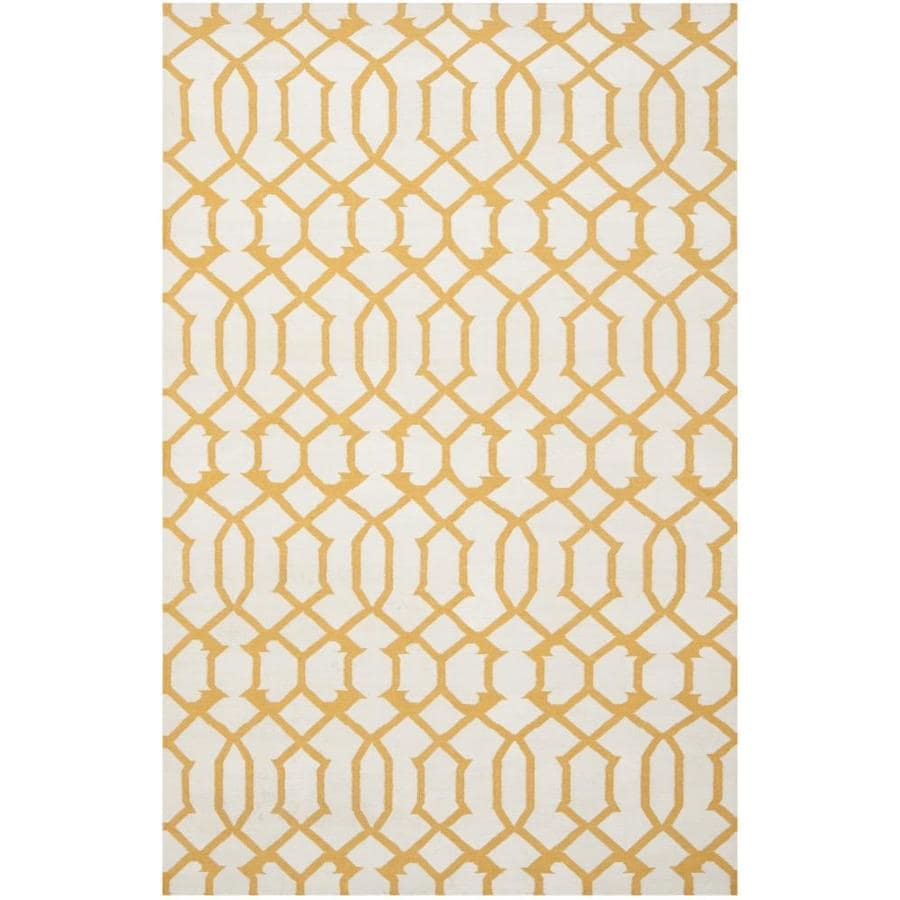 Safavieh Dhurries Ivory and Yellow Rectangular Indoor Woven Area Rug (Common: 6 x 9; Actual: 72-in W x 108-in L x 0.5-ft Dia)