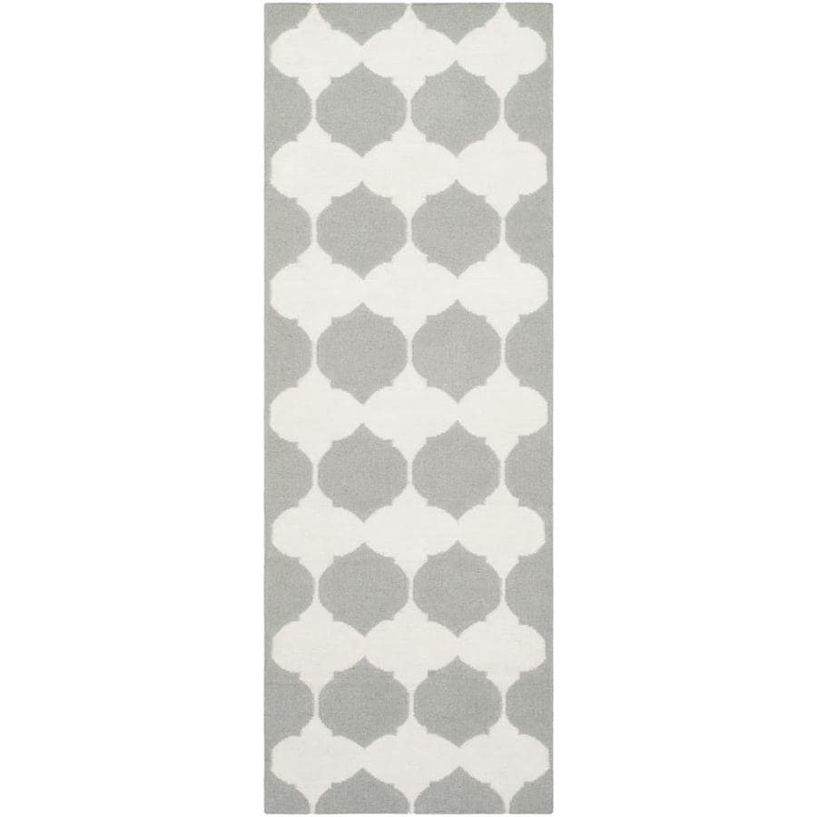 Safavieh Dhurries Gray/Ivory Rectangular Indoor Woven Southwestern Runner (Common: 2 x 7; Actual: 2.5-ft W x 7-ft L)