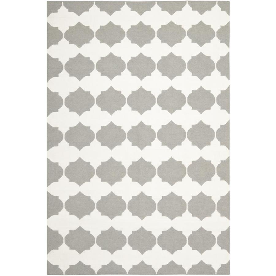Safavieh Dhurries Blevin Gray/Ivory Indoor Handcrafted Southwestern Area Rug (Common: 5 x 8; Actual: 5-ft W x 8-ft L)