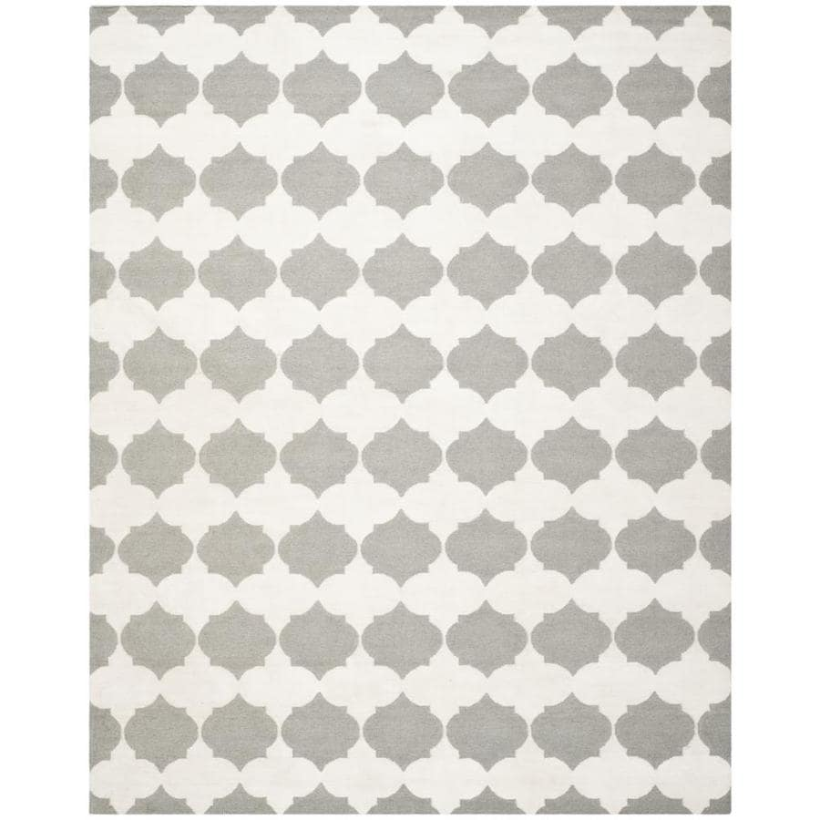 Safavieh Dhurries Grey and Ivory Rectangular Indoor Woven Area Rug (Common: 9 x 12; Actual: 108-in W x 144-in L x 0.67-ft Dia)
