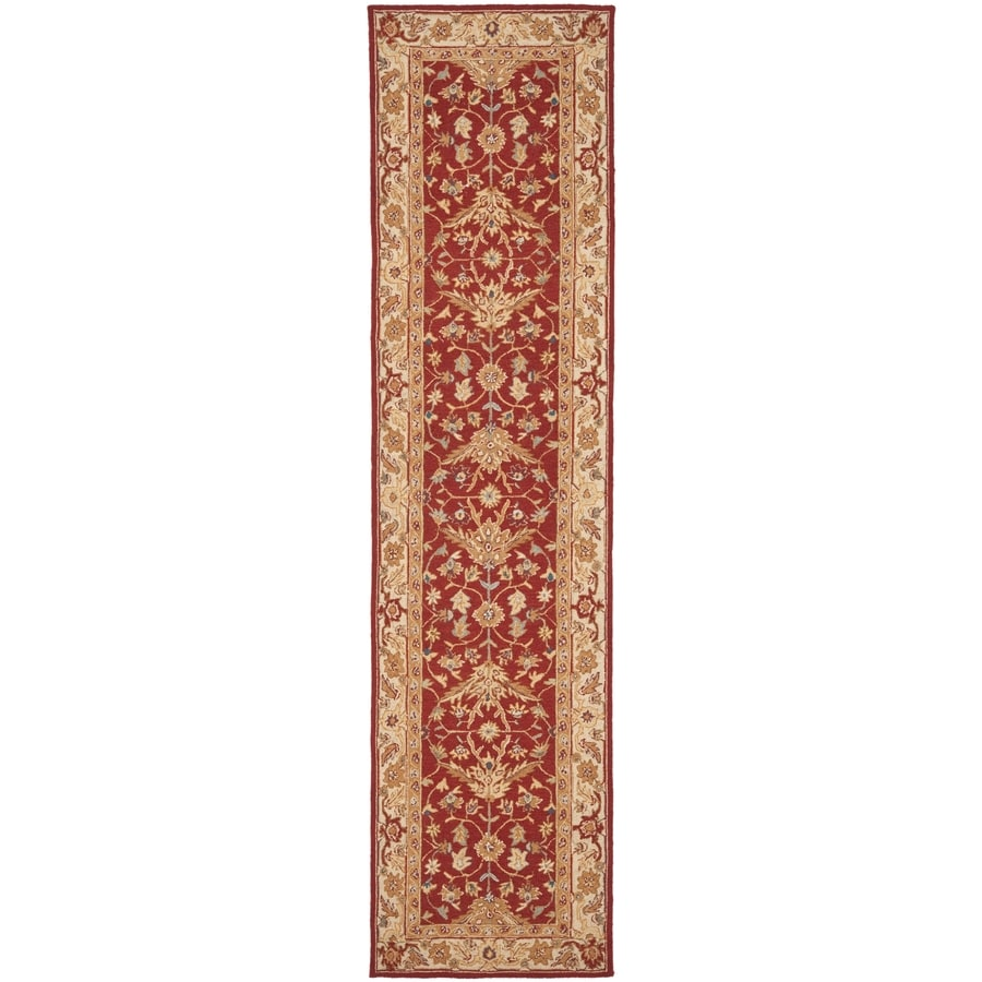 Safavieh Chelsea Nottingham Red/Ivory Rectangular Indoor Handcrafted Lodge Runner (Common: 2 X 10; Actual: 2.5-ft W x 10-ft L)