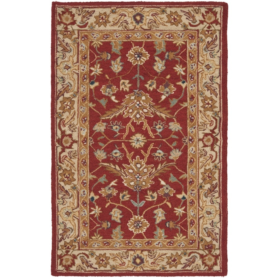 Safavieh Chelsea Nottingham Red/Ivory Indoor Handcrafted Lodge Area Rug (Common: 4 x 6; Actual: 3.75-ft W x 5.75-ft L)