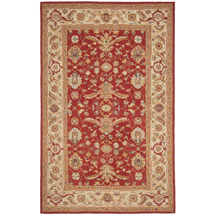 Safavieh Chelsea Nottingham Red And Ivory Indoor Handcrafted Lodge Area Rug (Common: 5 x 8; Actual: 5.25-ft W x 8.25-ft L)