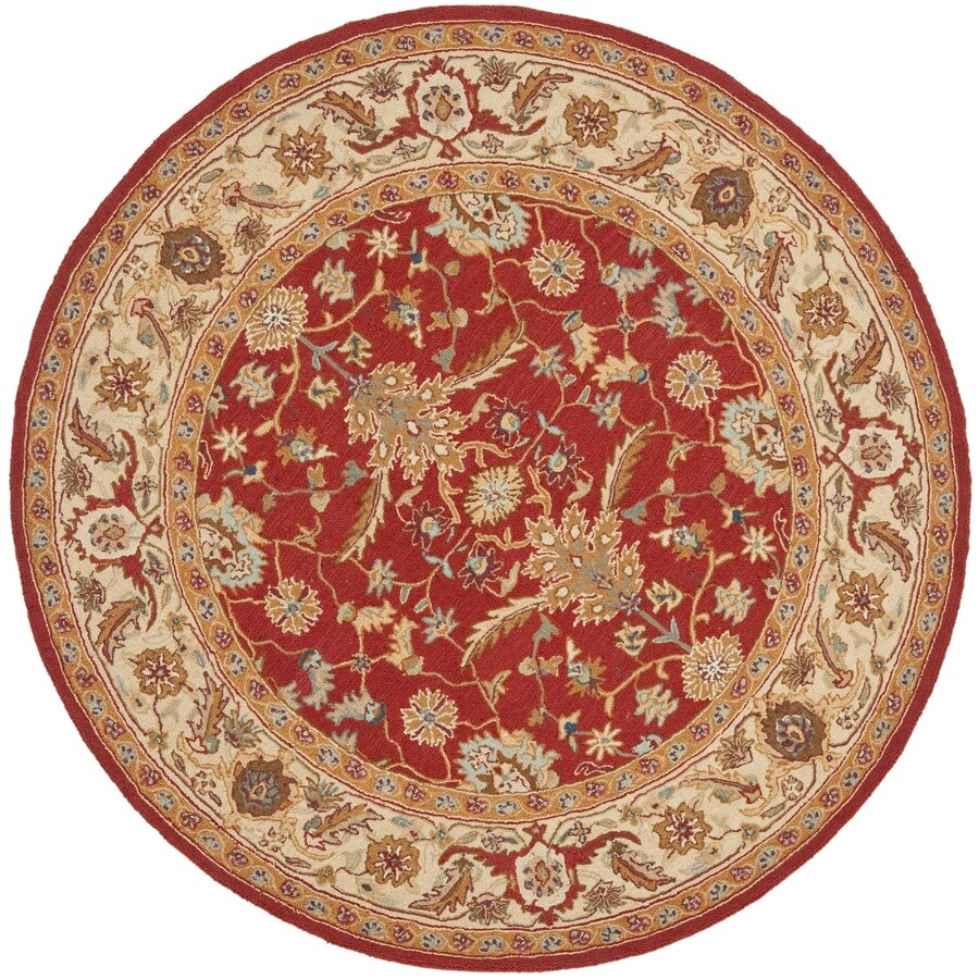 Safavieh Chelsea Nottingham Red and Ivory Round Indoor Handcrafted Lodge Area Rug (Common: 5 x 5; Actual: 5.5-ft W x 5.5-ft L x 5.5-ft Dia)