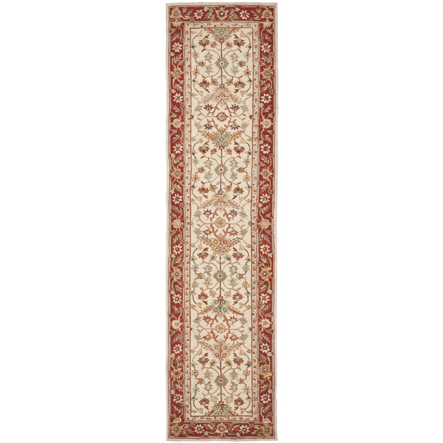 Safavieh Chelsea Nottingham Ivory/Red Rectangular Indoor Handcrafted Lodge Runner (Common: 2 X 10; Actual: 2.5-ft W x 10-ft L)
