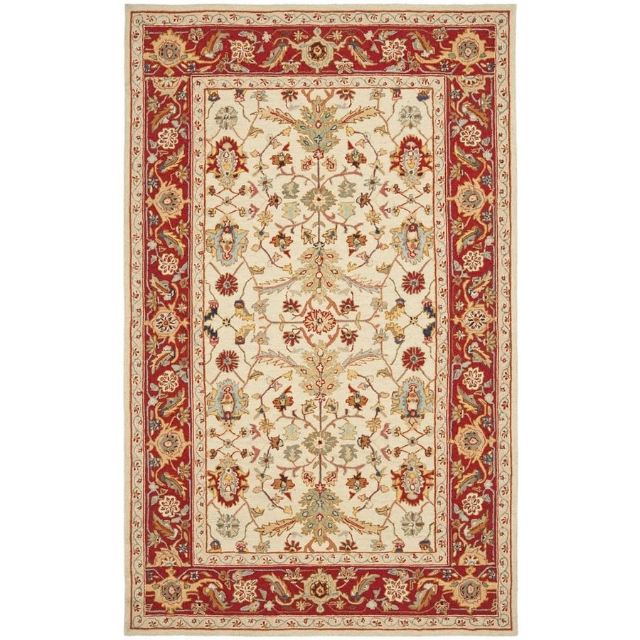 Safavieh Chelsea Nottingham Ivory and Red Rectangular Indoor Handcrafted Lodge Throw Rug (Common: 3 x 5; Actual: 3.75-ft W x 5.75-ft L)