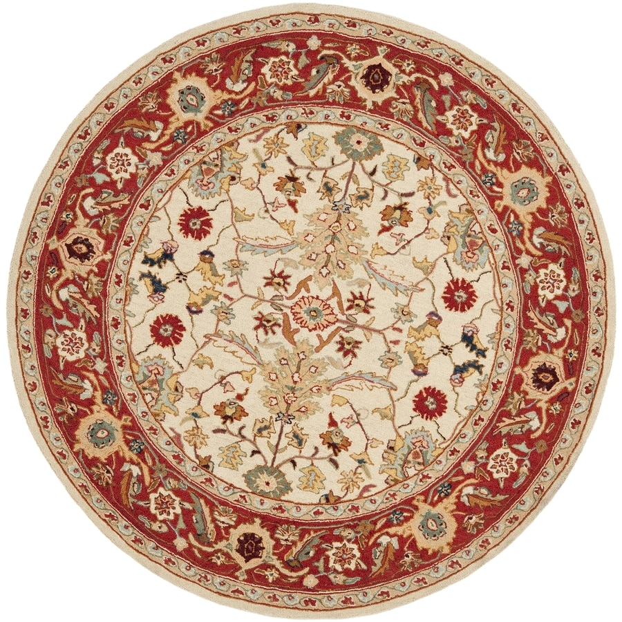 Safavieh Chelsea Nottingham Ivory/Red Round Indoor Handcrafted Lodge Area Rug (Common: 5 X 5; Actual: 5.5-ft W x 5.5-ft L x 5.5-ft dia)