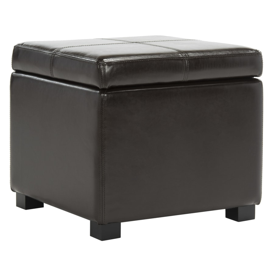 Safavieh Madison Casual Brown Faux Leather Storage Ottoman