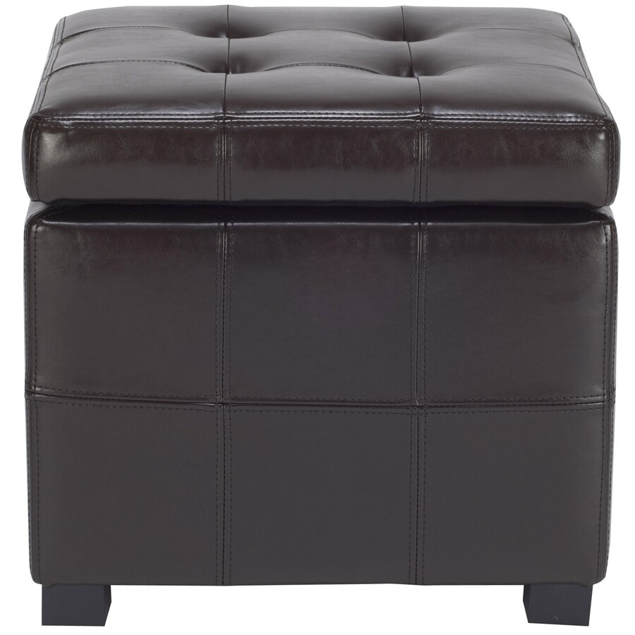 Safavieh Maiden Casual Brown Faux Leather Storage Ottoman
