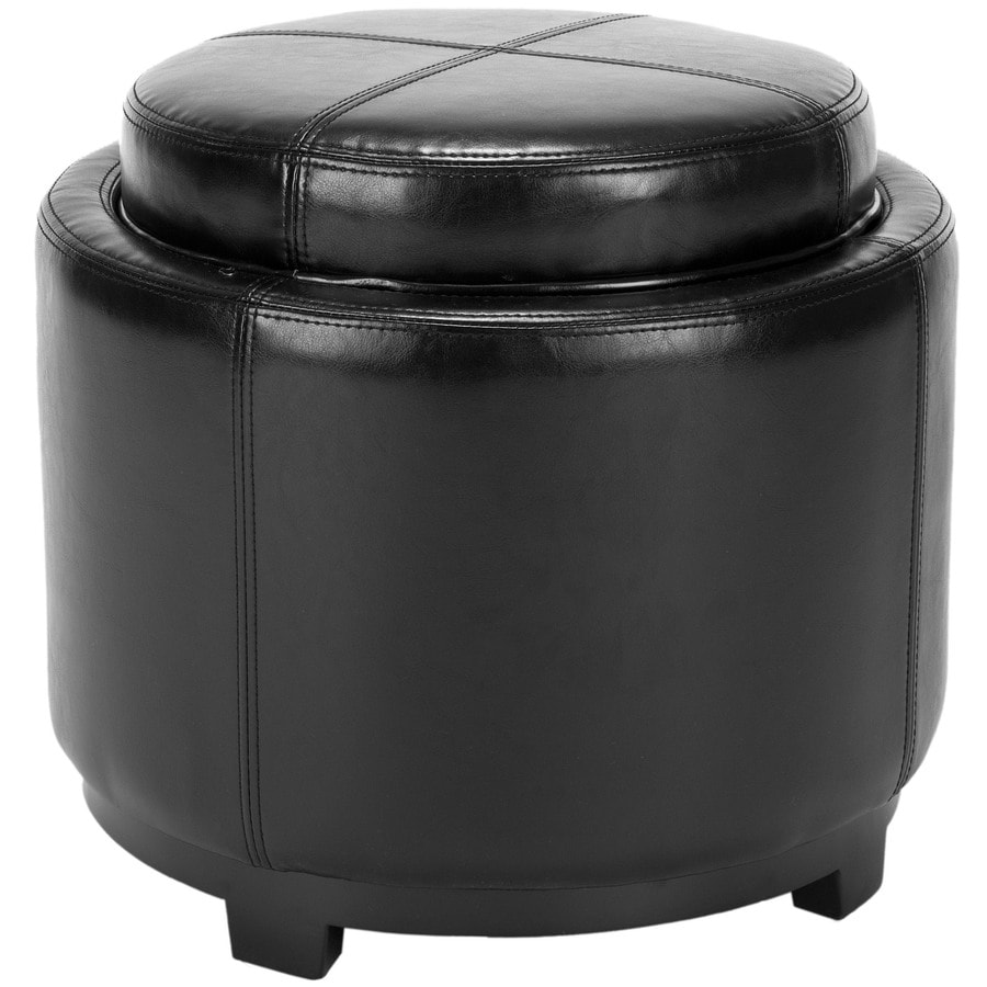 Safavieh Chelsea Casual Black Faux Leather Round Storage Ottoman