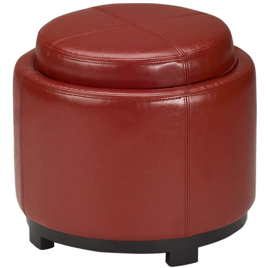 Safavieh Chelsea Casual Red Faux Leather Round Storage Ottoman