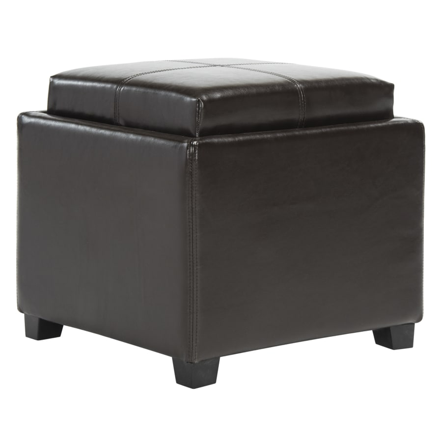 Ottomans Lifestyle Single Ottoman: Safavieh Harrison Single Casual Brown Faux Leather Storage