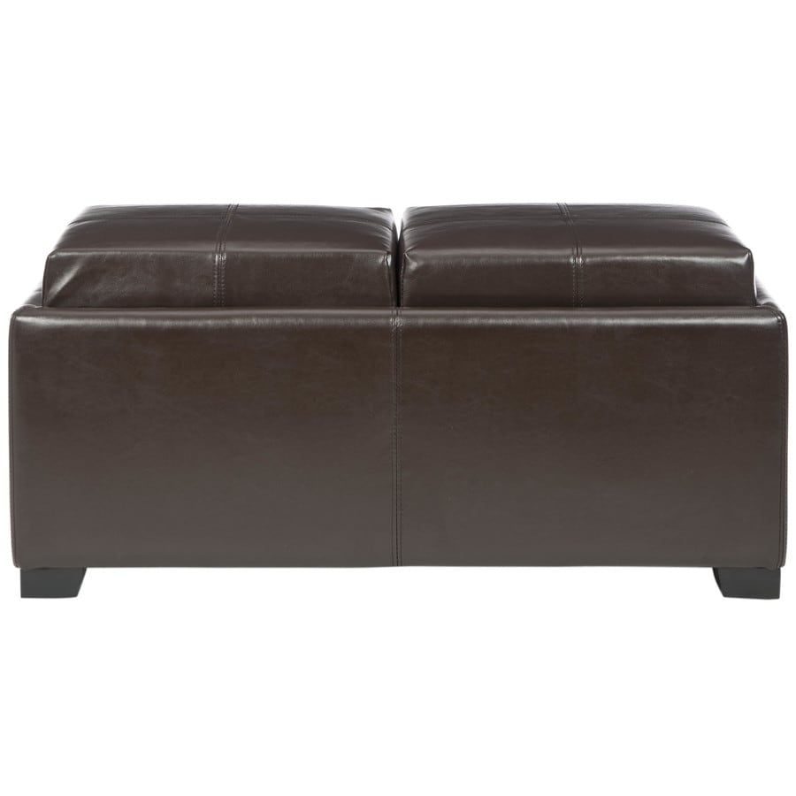 Safavieh Harrison Double Casual Brown Faux Leather Storage Ottoman