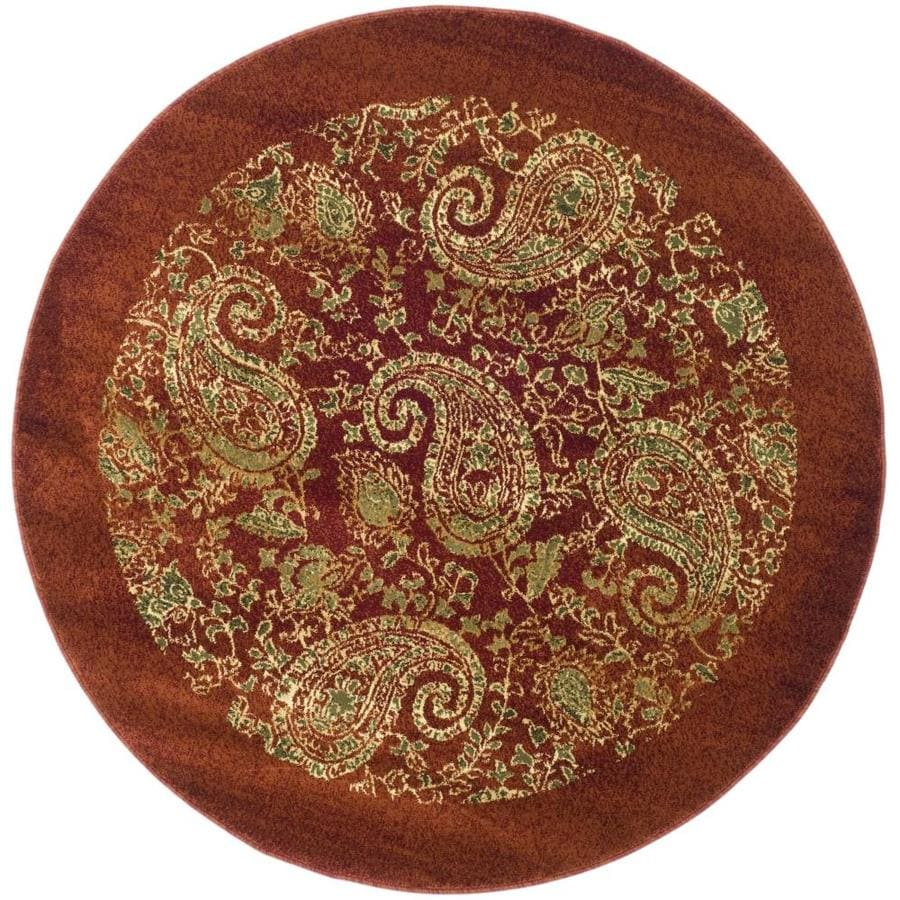 Safavieh Lyndhurst Paisley Life Red/Multi Round Indoor Machine-made Area Rug (Common: 5 x 5; Actual: 5.25-ft W x 5.25-ft L x 5.25-ft Dia)