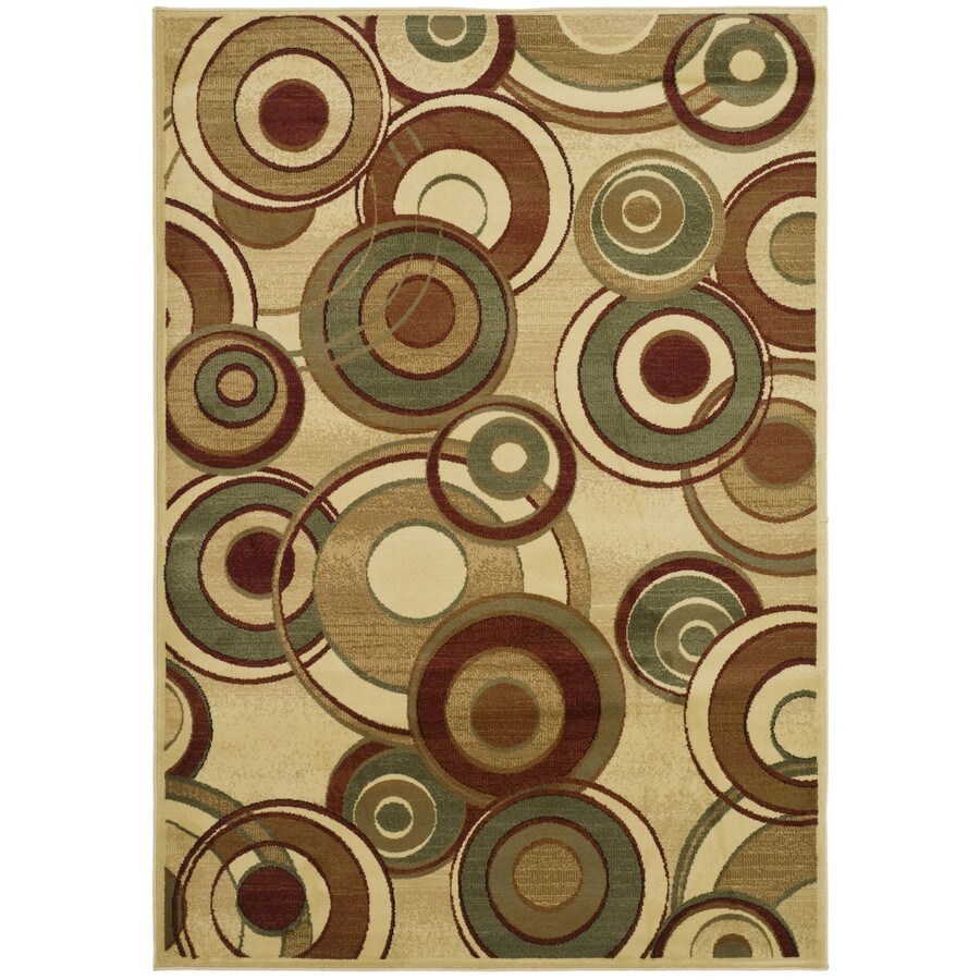 Safavieh Lyndhurst Modern Circles Ivory/Multi Rectangular Indoor Machine-made Throw Rug (Common: 3 x 5; Actual: 3.25-ft W x 5.25-ft L)