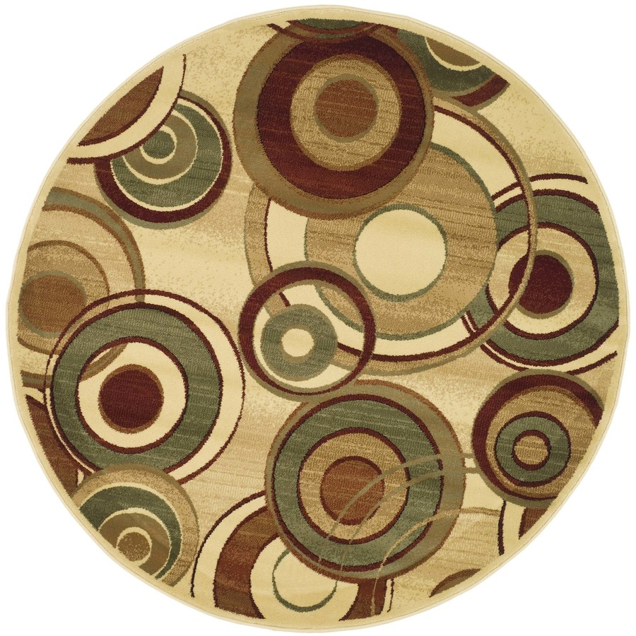 Safavieh Lyndhurst Modern Circles Ivory/Multi Round Indoor Machine-made Area Rug (Common: 5 x 5; Actual: 5.25-ft W x 5.25-ft L x 5.25-ft Dia)
