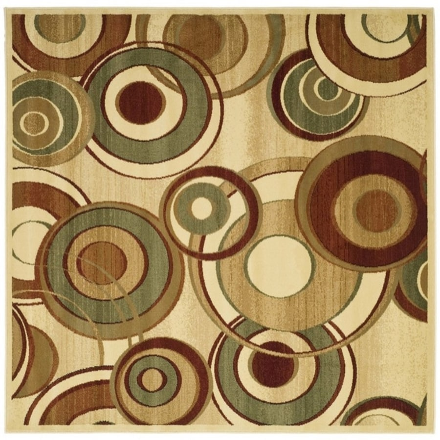 Safavieh Lyndhurst Modern Circles Ivory/Multi Square Indoor Machine-made Area Rug (Common: 6 x 6; Actual: 6-ft W x 6-ft L)