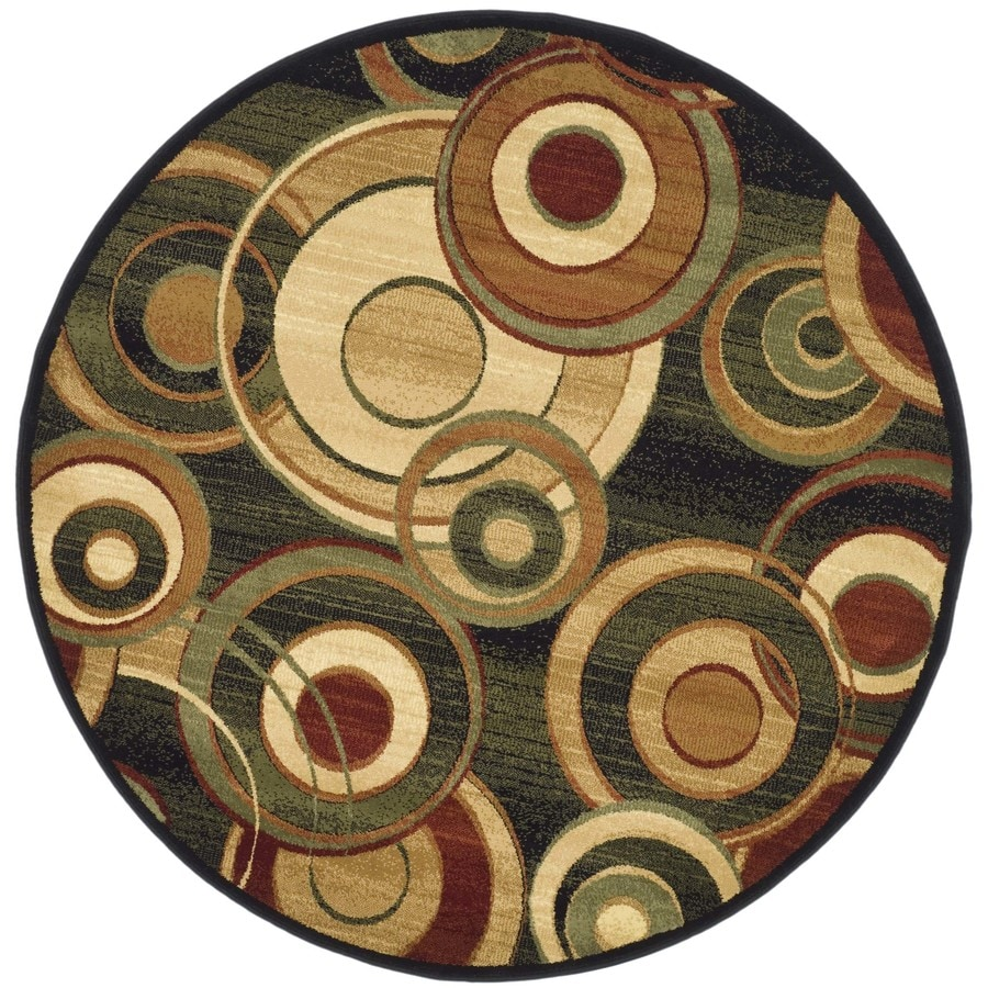 Safavieh Lyndhurst Modern Circles Black Indoor Area Rug (Common: 5 x 8; Actual: 5.25-ft W x 7.5-ft L)