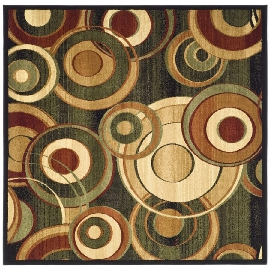 Safavieh Lyndhurst Modern Circles Black/Multi Square Indoor Machine-made Area Rug (Common: 6 x 6; Actual: 6-ft W x 6-ft L)