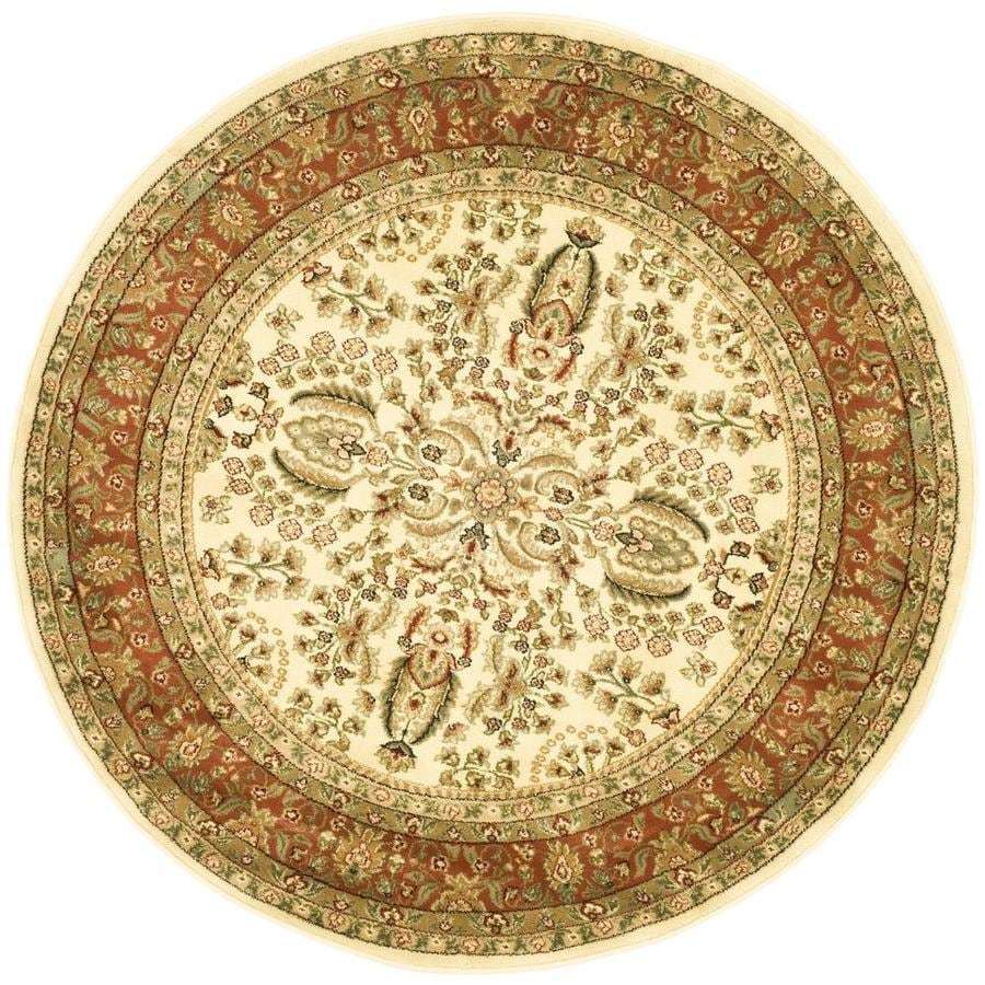 Safavieh Lyndhurst Isphahan Ivory/Rust Round Indoor Machine-made Oriental Area Rug (Common: 5 x 5; Actual: 5.25-ft W x 5.25-ft L x 5.25-ft dia)