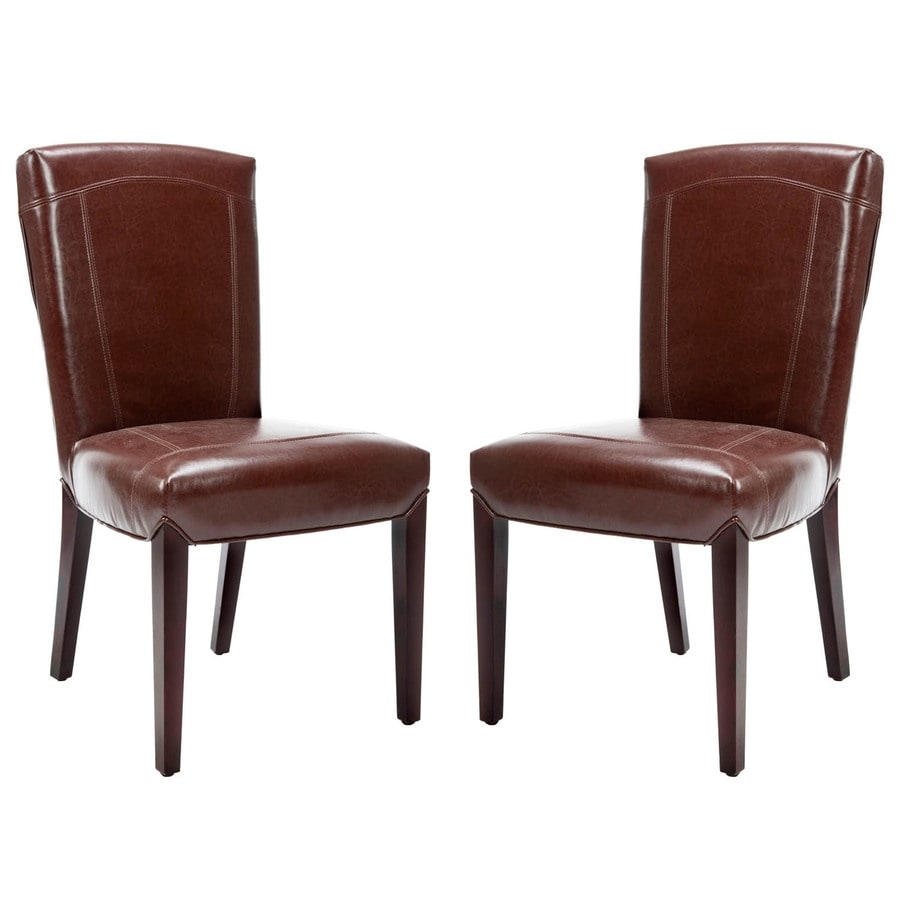 Safavieh Set of 2 Ken Side Casual Brown Faux Leather Accent Chairs