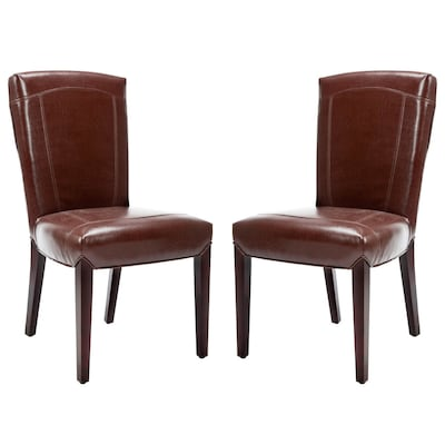 Pleasant Safavieh Set Of 2 Ken Side Casual Brown Leather Faux Leather Ocoug Best Dining Table And Chair Ideas Images Ocougorg