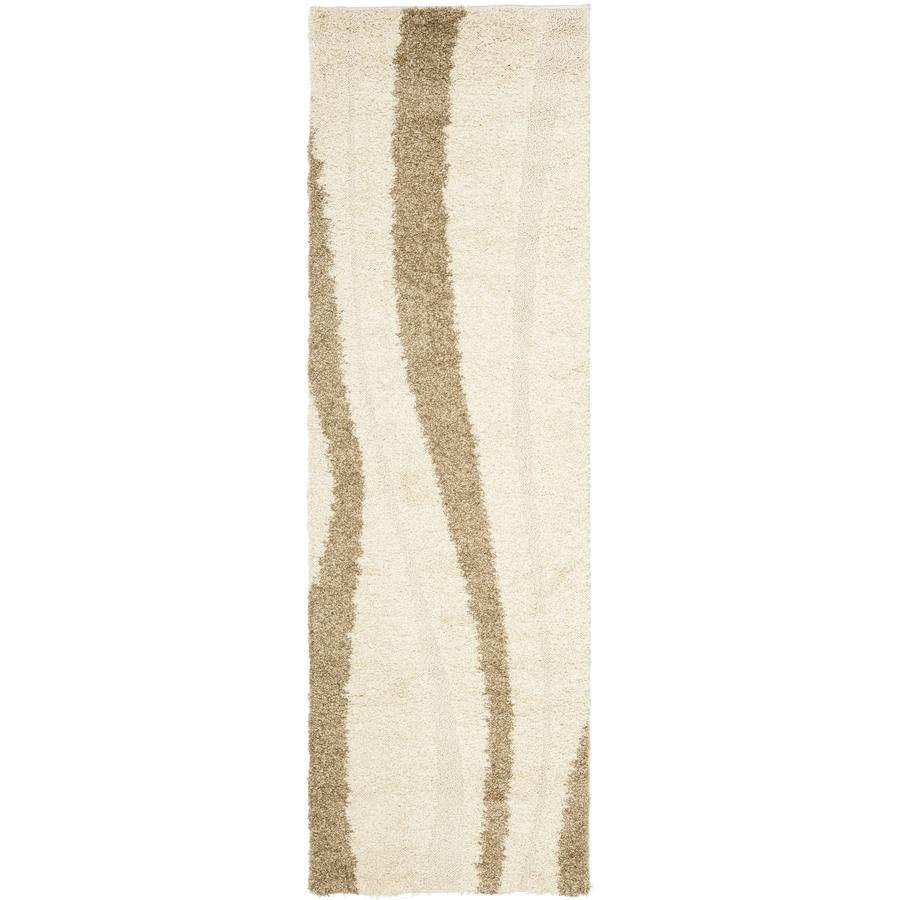 Safavieh Willow Shag Cream/Dark Brown Indoor Tropical Runner (Common: 2 x 8; Actual: 2.25-ft W x 8-ft L)