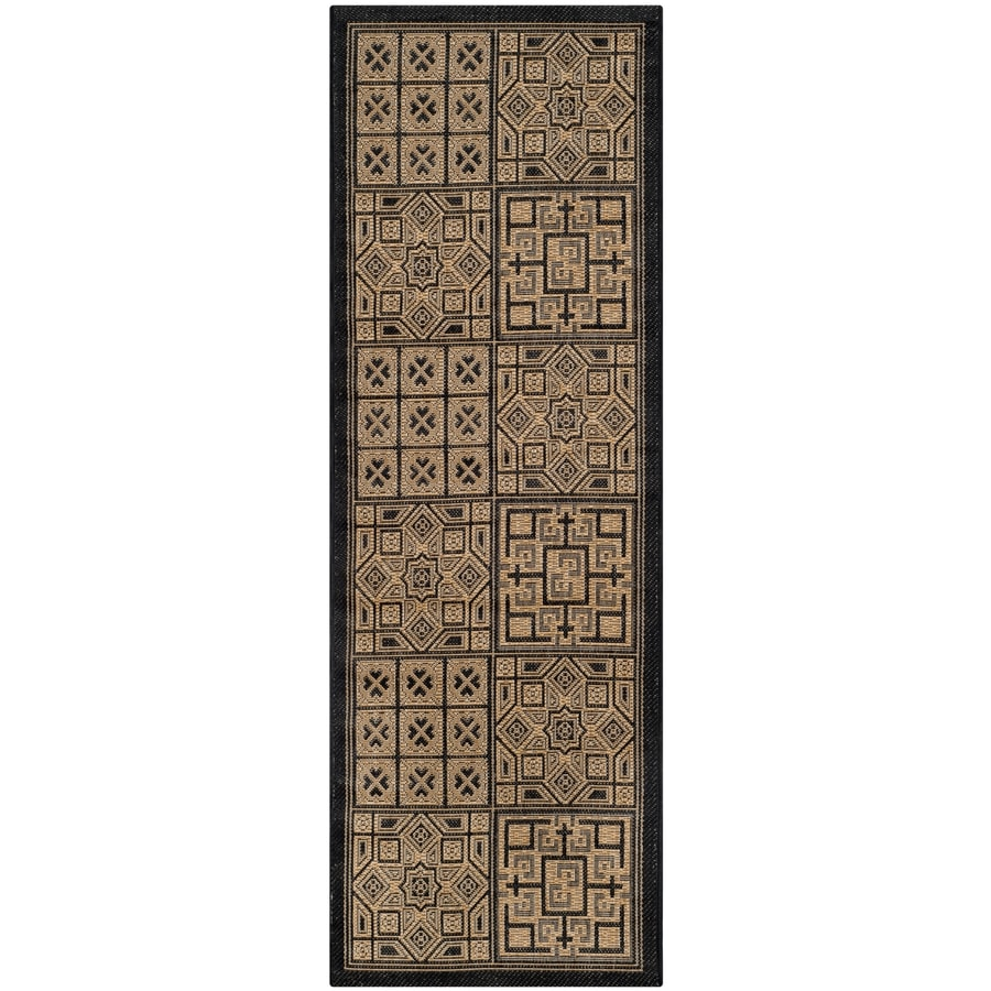 Safavieh Courtyard Catto Gold/Natural Rectangular Indoor/Outdoor Machine-made Coastal Runner (Common: 2 x 6; Actual: 2.25-ft W x 6.58-ft L)