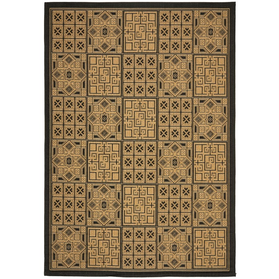 Safavieh Courtyard Bursis Black/Natural Indoor/Outdoor Coastal Area Rug (Common: 5 x 8; Actual: 5.25-ft W x 7.6-ft L)