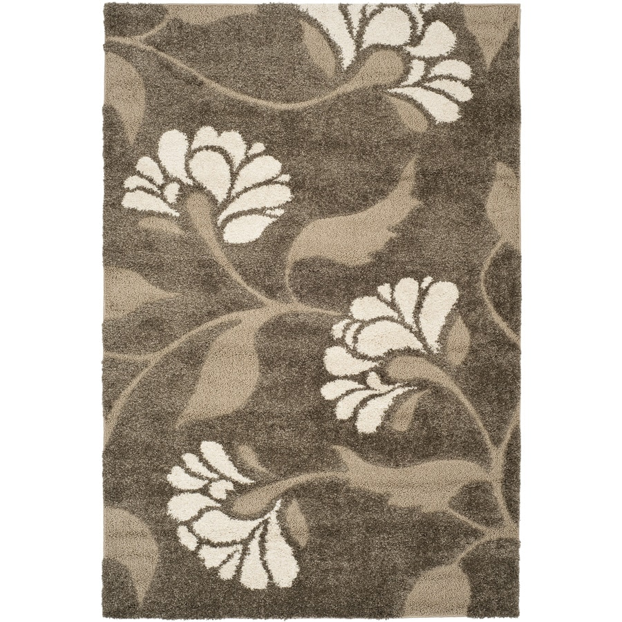 Safavieh Koi Shag Smoke/Beige Indoor Tropical Throw Rug (Common: 3 x 5; Actual: 3.25-ft W x 5.25-ft L)