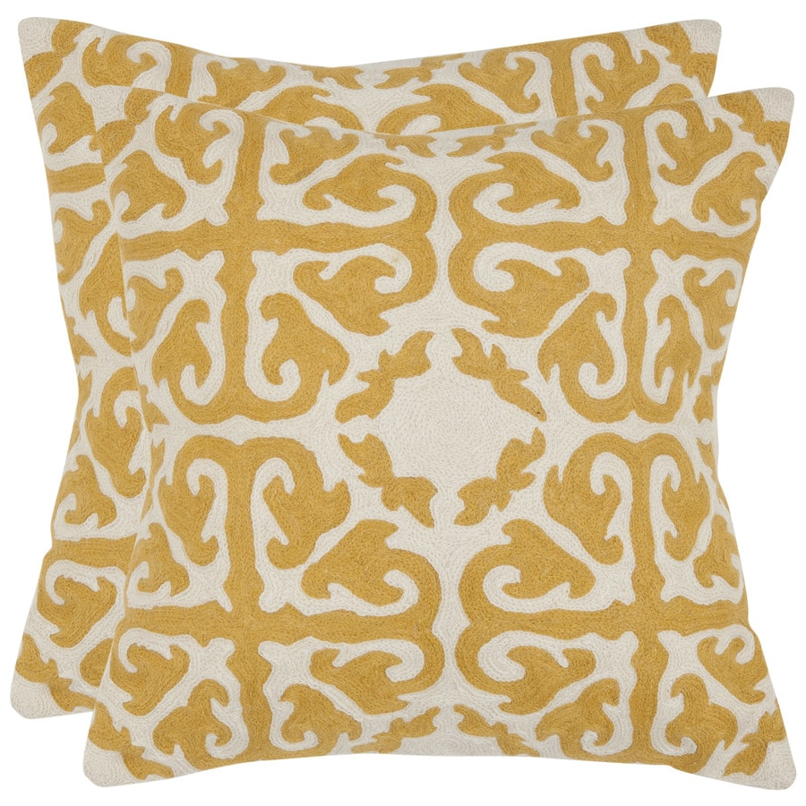 Safavieh Moroccan 2-Piece 18-in W x 18-in L Mustard Square Indoor Decorative Pillow