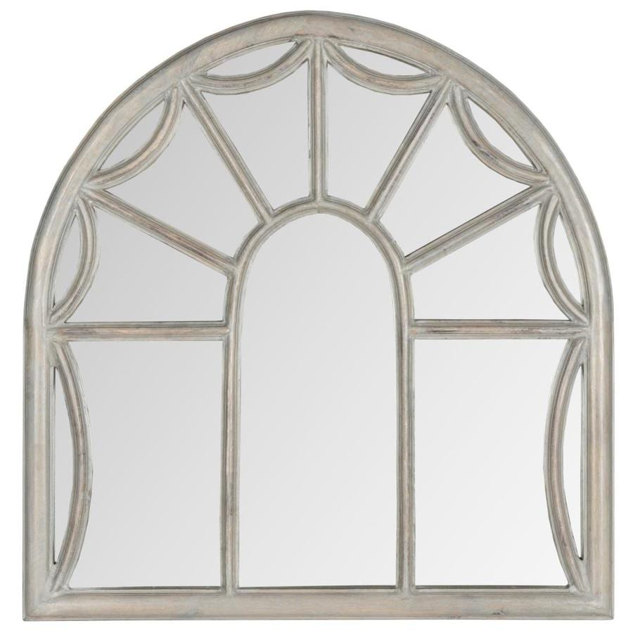 Safavieh 32-in x 33-in Grey Polished Arch Framed Contemporary Wall Mirror