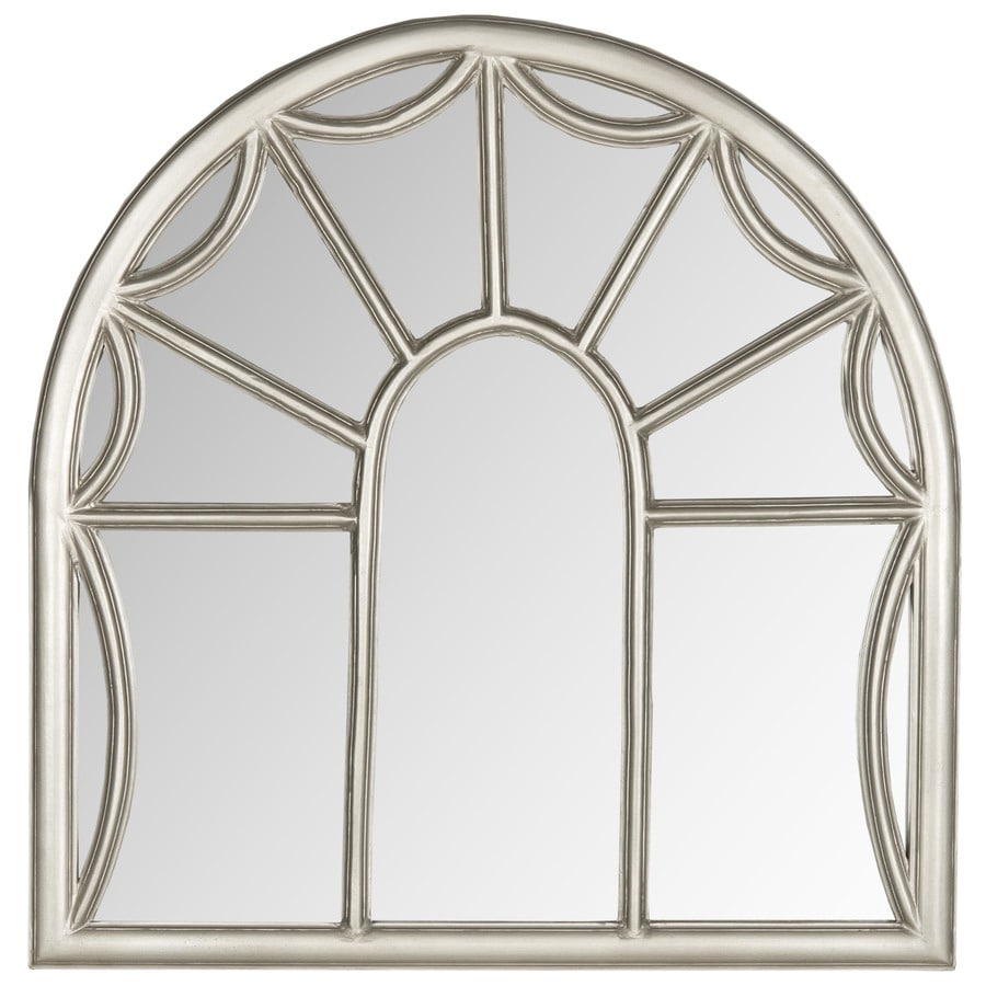 Safavieh 32-in x 33-in Pewter Polished Arch Framed Contemporary Wall Mirror