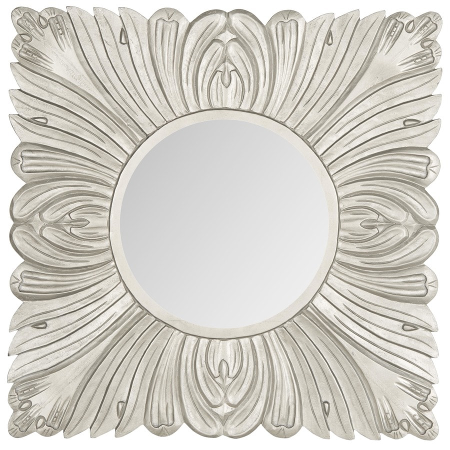 Safavieh 28-in x 28-in Pewter Polished Square Framed Transitional Wall Mirror