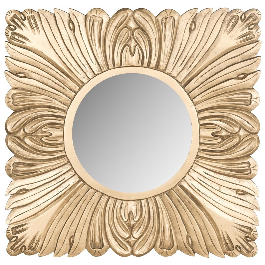 Safavieh 28-in x 28-in Gold Polished Square Framed Transitional Wall Mirror