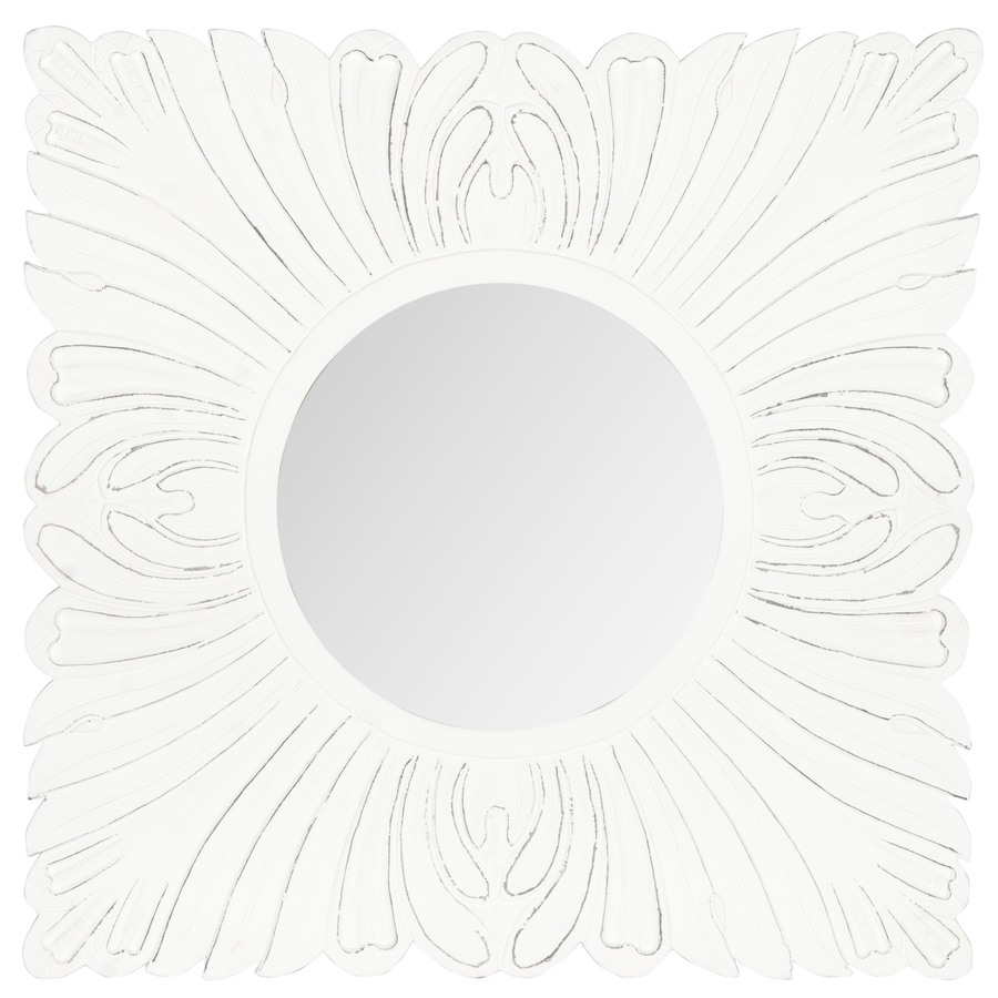 Safavieh Acanthus Antique White Polished Square Wall Mirror