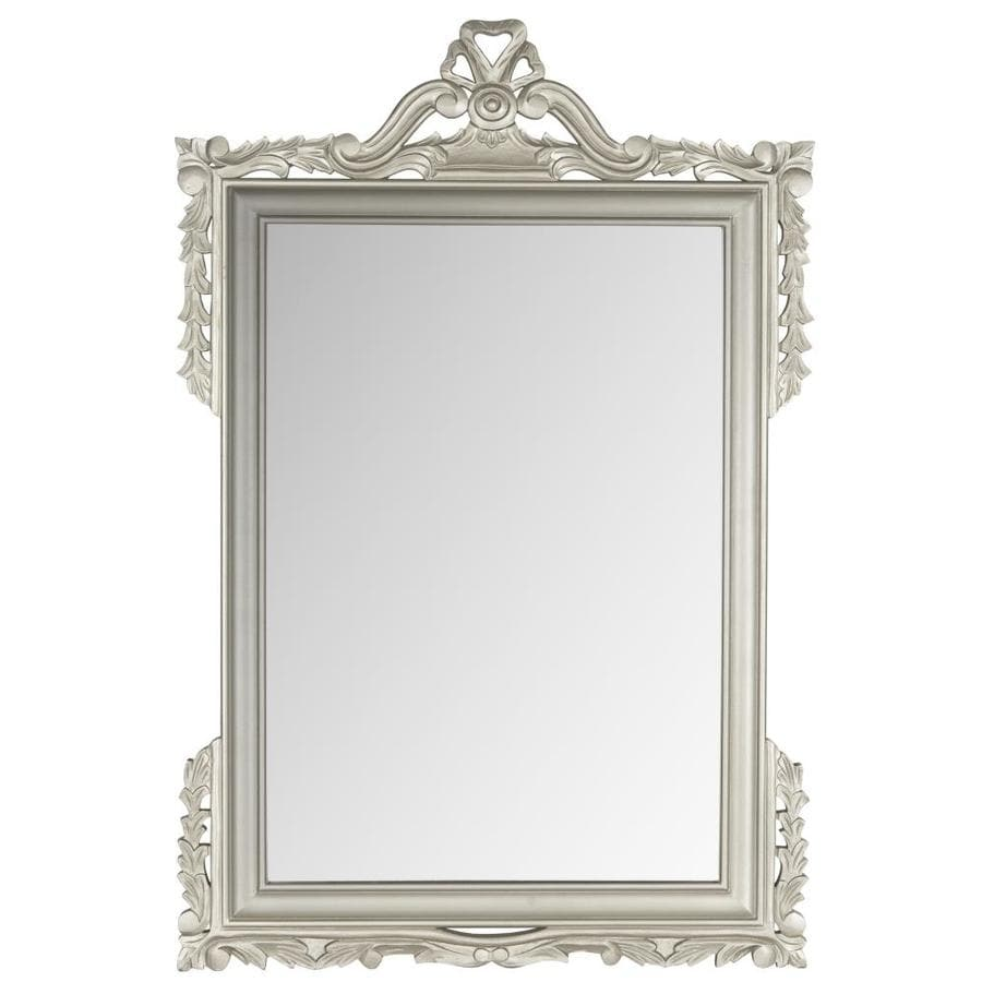 Safavieh 31-in x 47-in Pewter Polished Rectangle Framed Venetian Wall Mirror