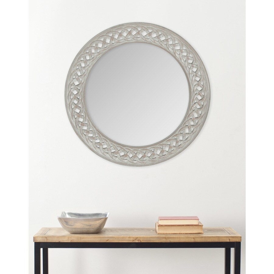 Shop Safavieh Braided Chain Gray Framed Round Wall Mirror at Lowes.com