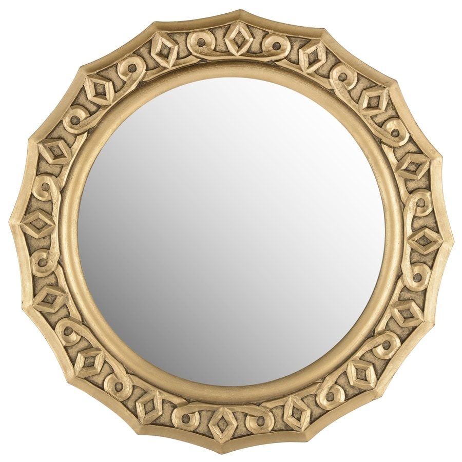 Safavieh 25-in x 24-in Gold Polished Round Framed Contemporary Wall Mirror