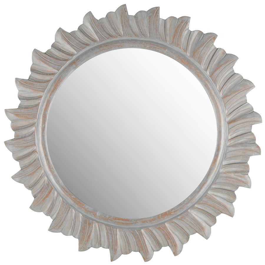 Safavieh 29-in x 29-in Grey Polished Round Framed Sunburst Wall Mirror