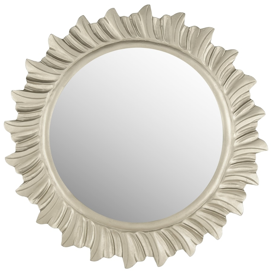 Safavieh 29-in x 29-in Pewter Polished Round Framed Sunburst Wall Mirror