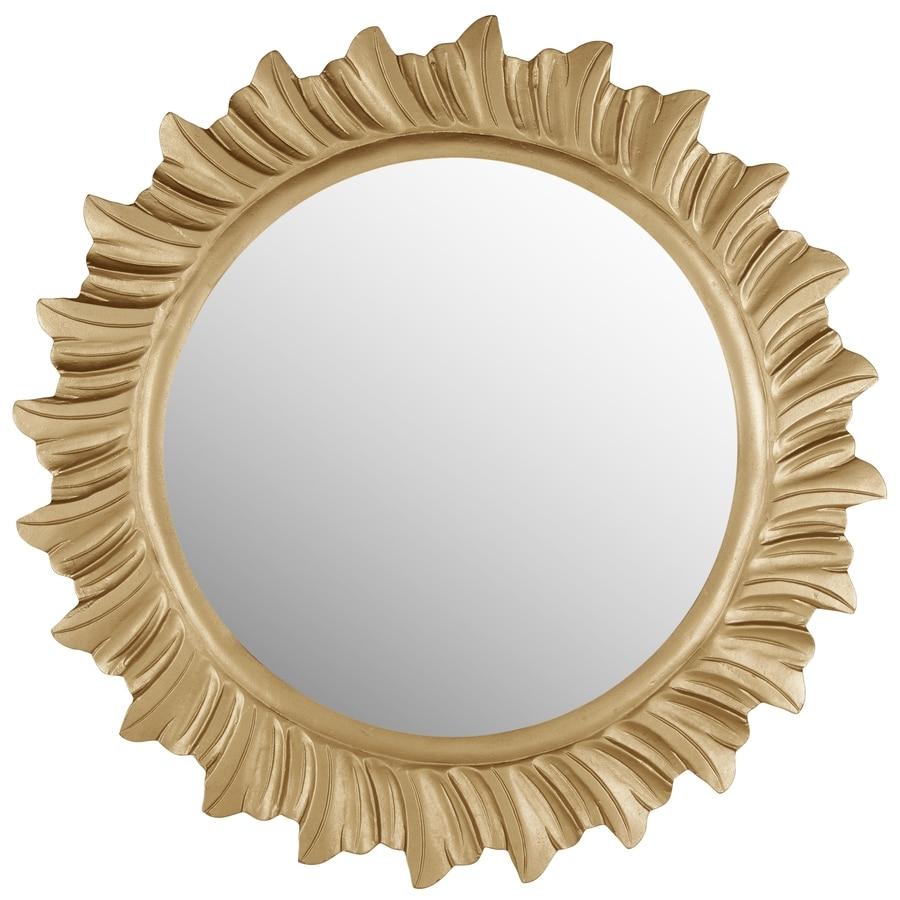 Safavieh 29-in x 29-in Gold Polished Round Framed Sunburst Wall Mirror