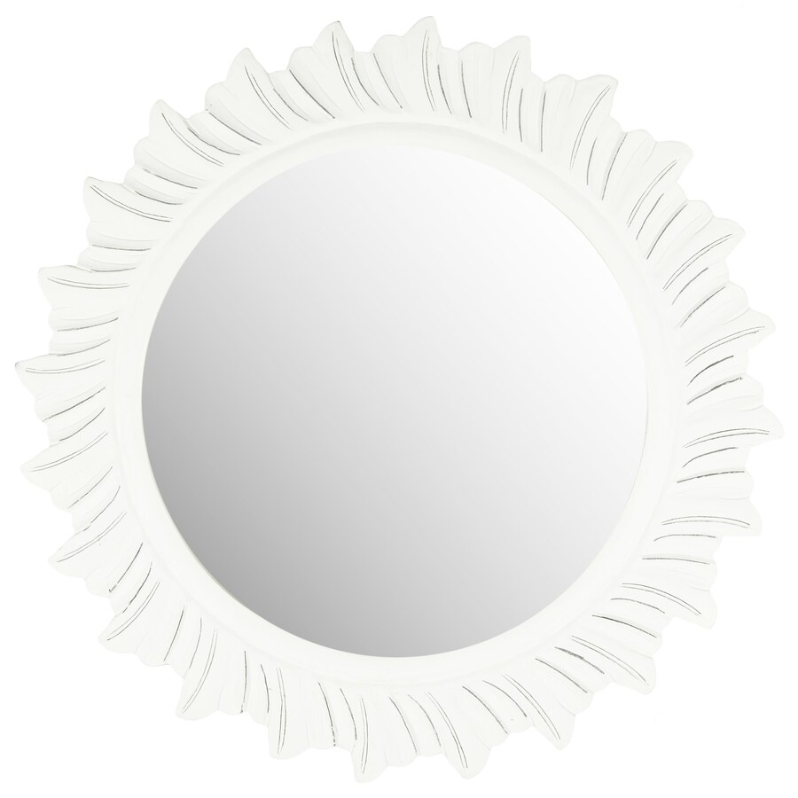 Safavieh By The Sea Antique White Polished Round Wall Mirror