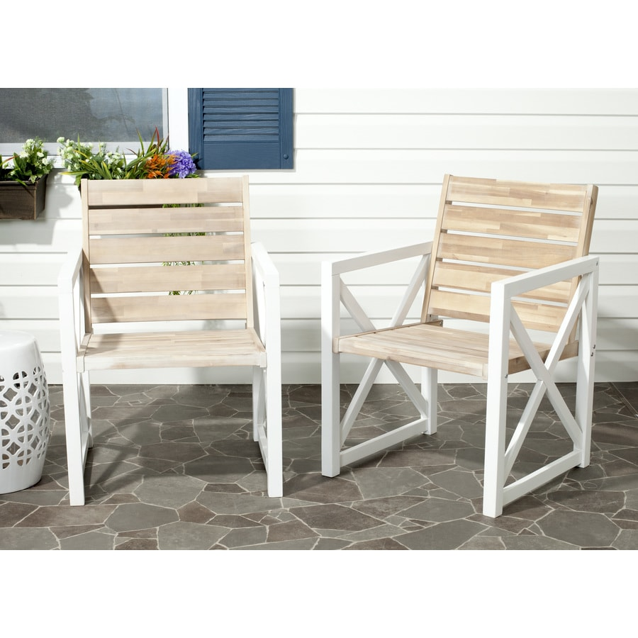 Safavieh Irina 2-Count Natural/White Wood Patio Conversation Chair with