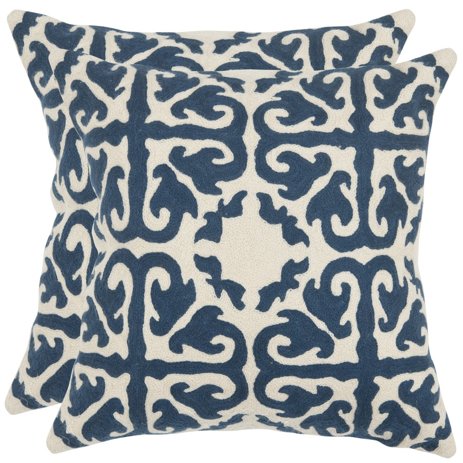 Safavieh Moroccan 2-Piece 22-in W x 22-in L Navy Blue Square Indoor Decorative Pillow